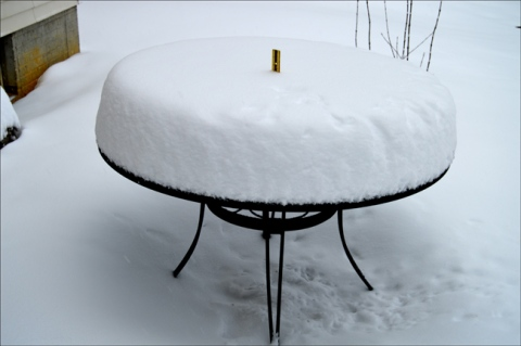 Snow on Ruler Table