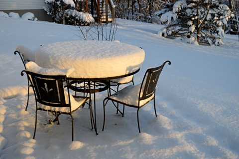 Snow on Patio Table